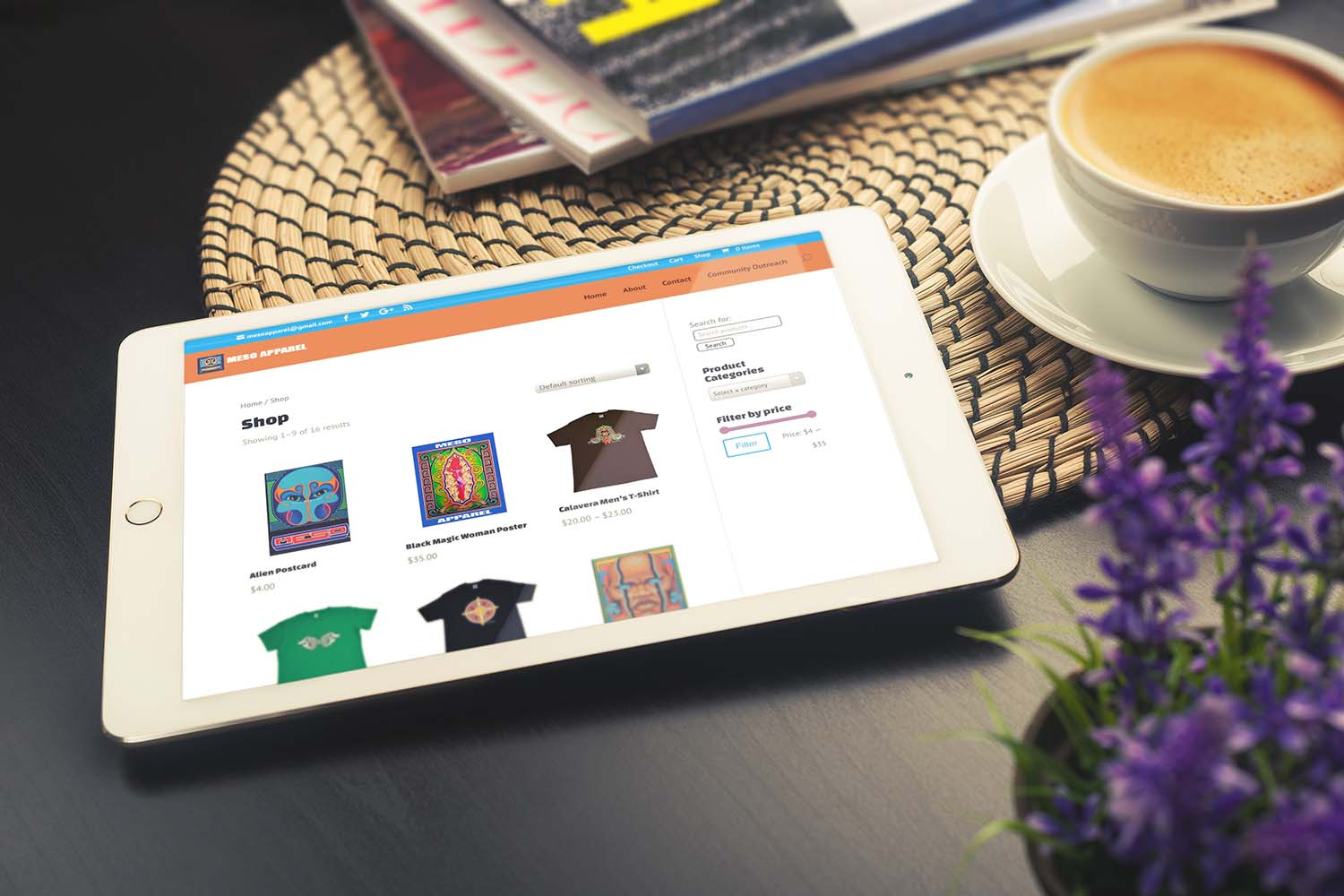 Website design for artist shop, shown on a tablet