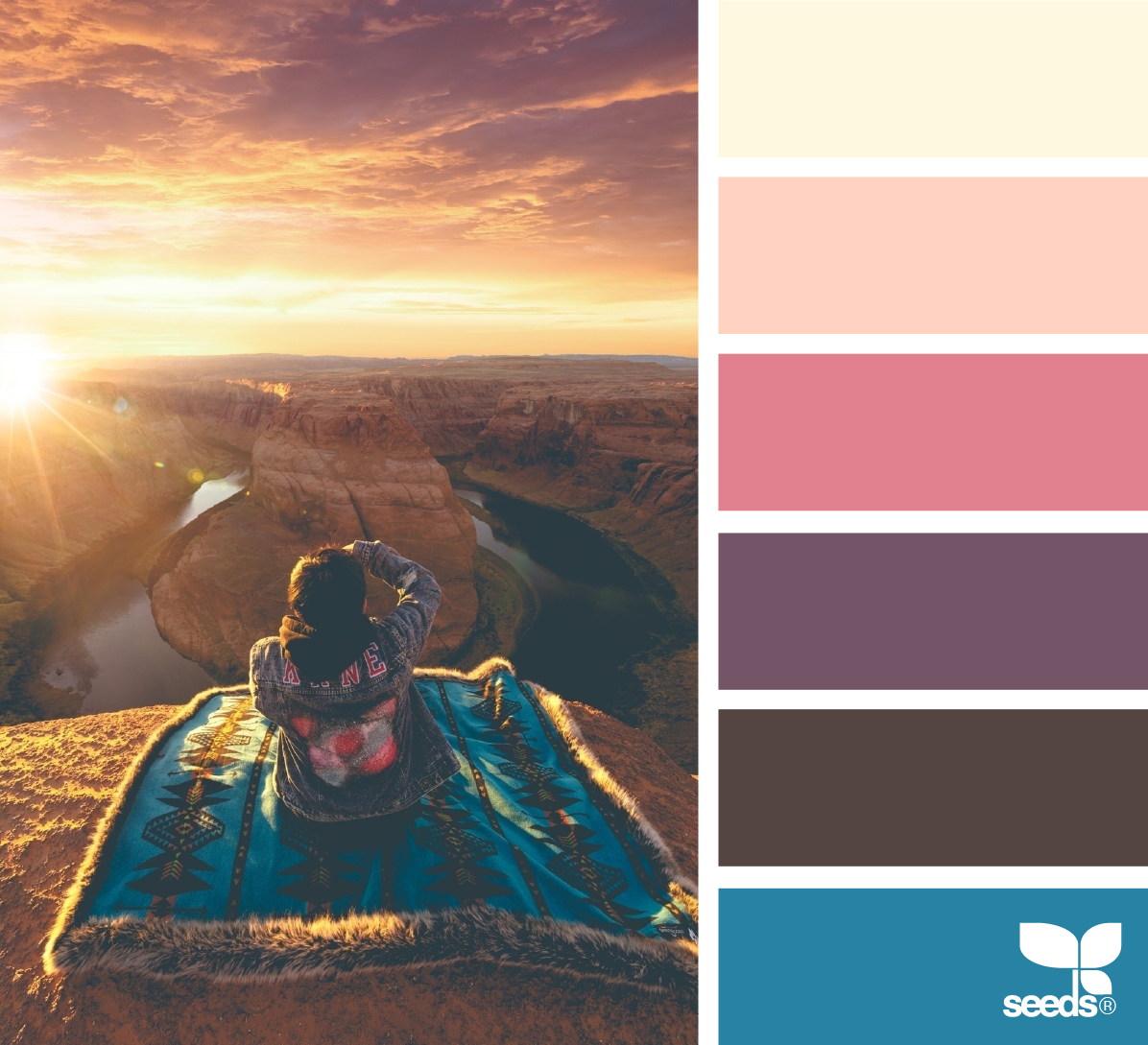 color inspiration board from photo of photographer at dessert canyon