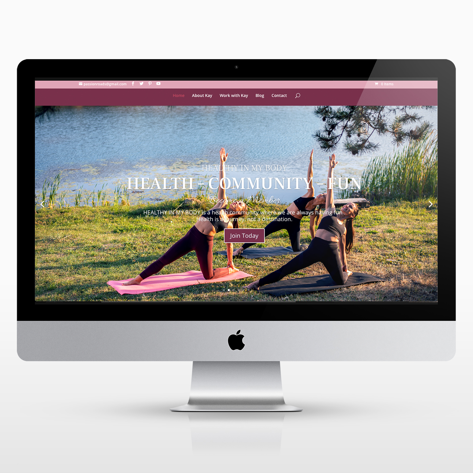 Website homepage for health coach