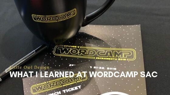 Coffee cup and workshop program from WordCamp Sacramento