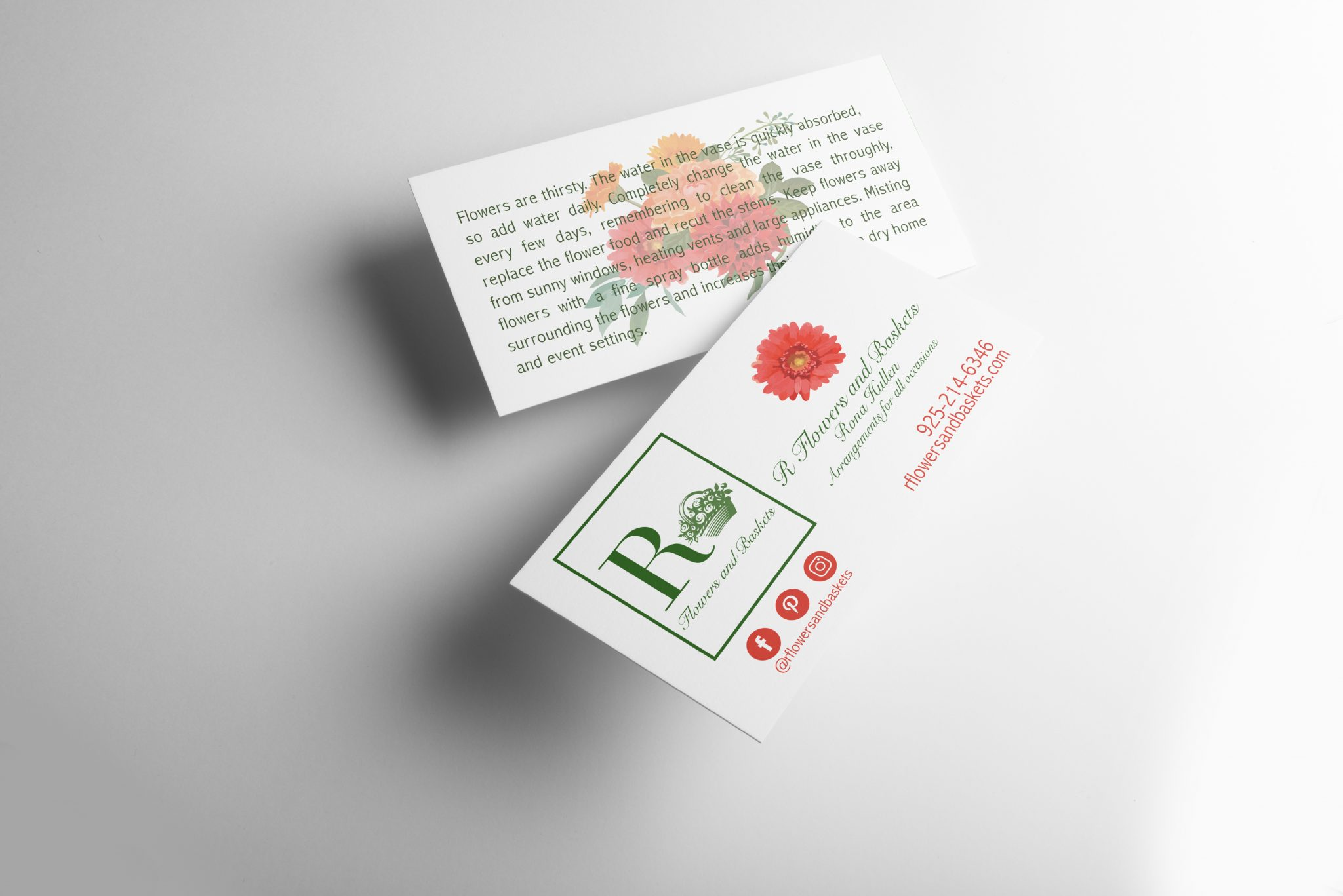 Business card for R Flower and Baskets, local florist