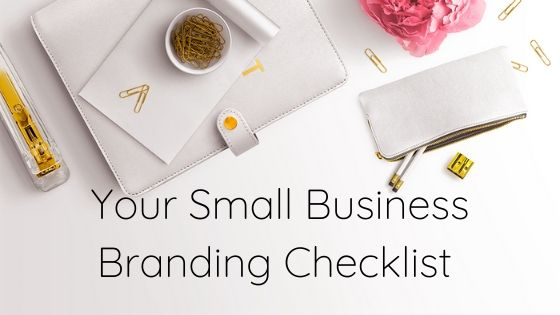 Small business branding checklist, desktop, white planner and gold paperclips