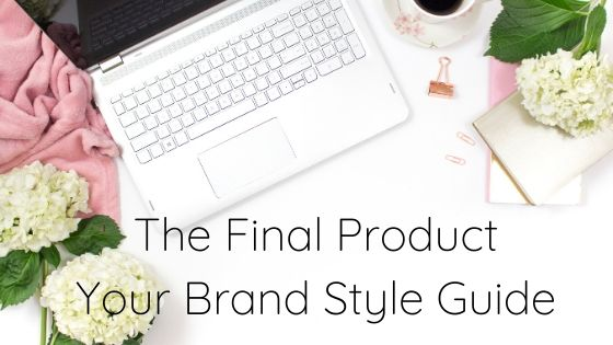 Brand style guide with a laptop, cup of coffee, white flowers and pink cloth on a desktop.